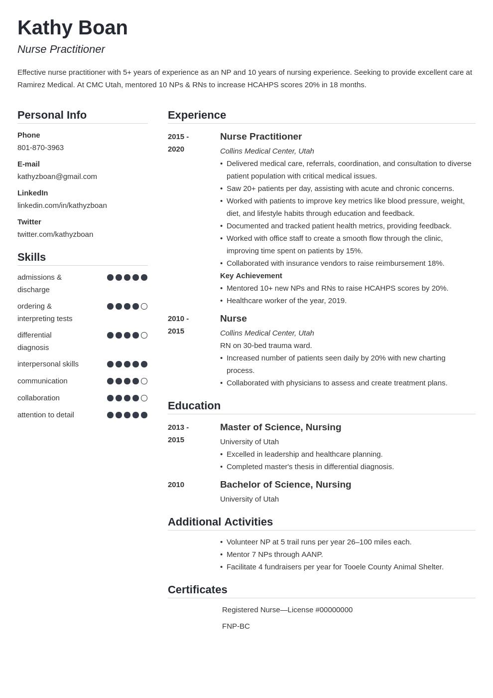 nurse practitioner template simple uk