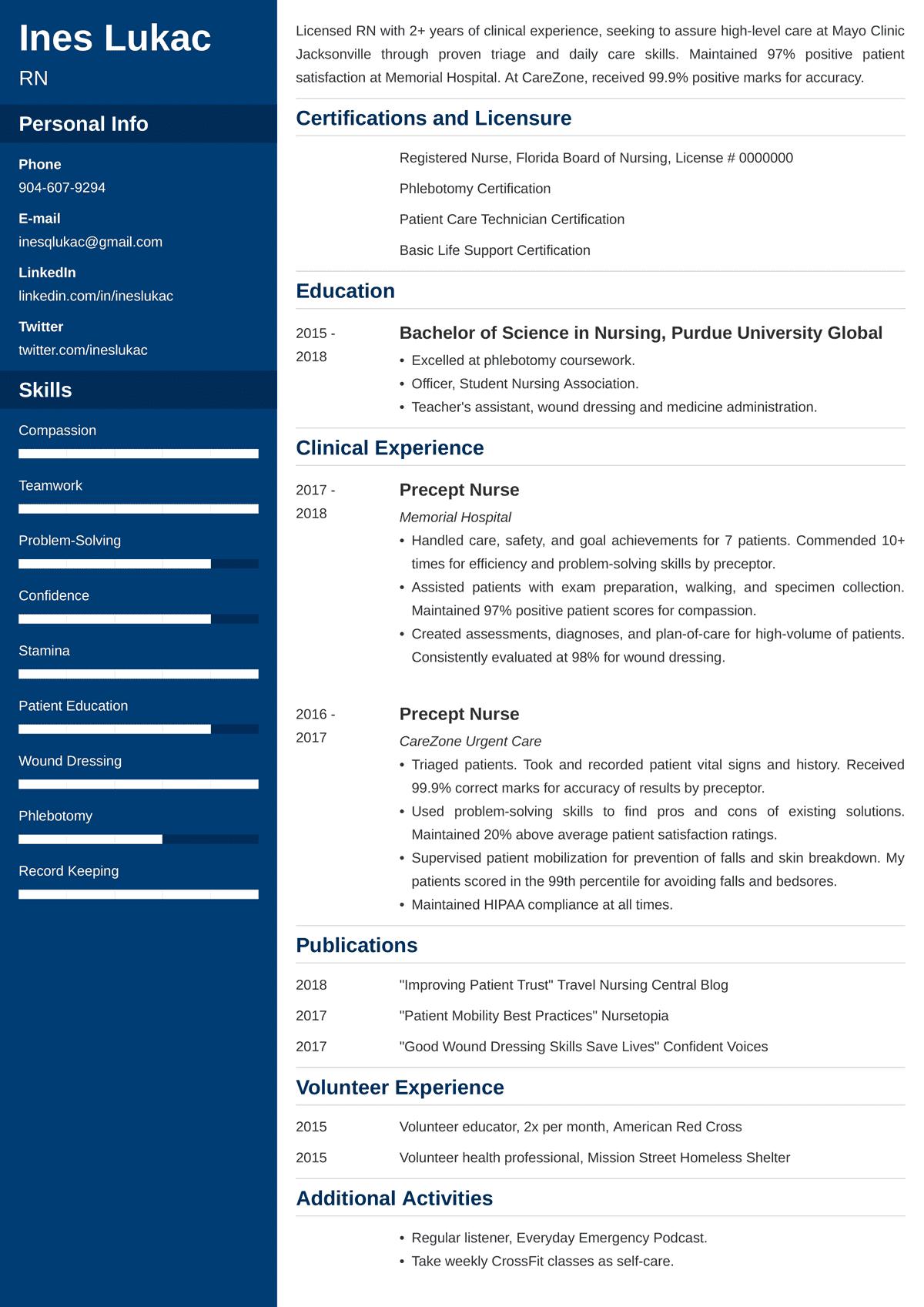 nursing student resume sample u2014examples and 25  writing tips