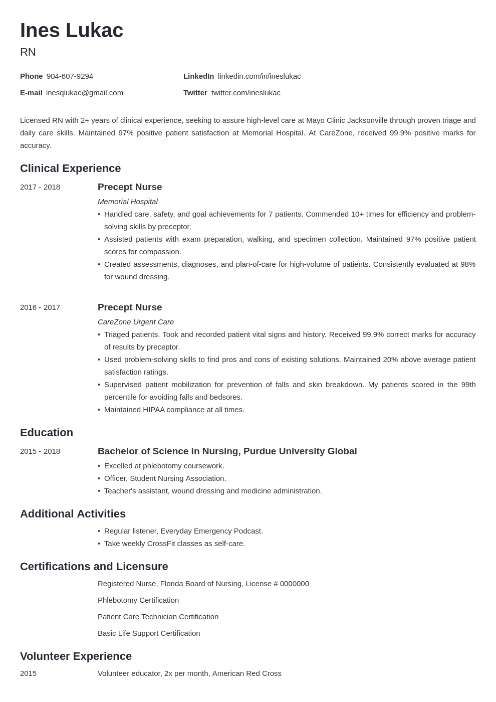 Nursing Student Resume Sample Examples And 25 Writing Tips