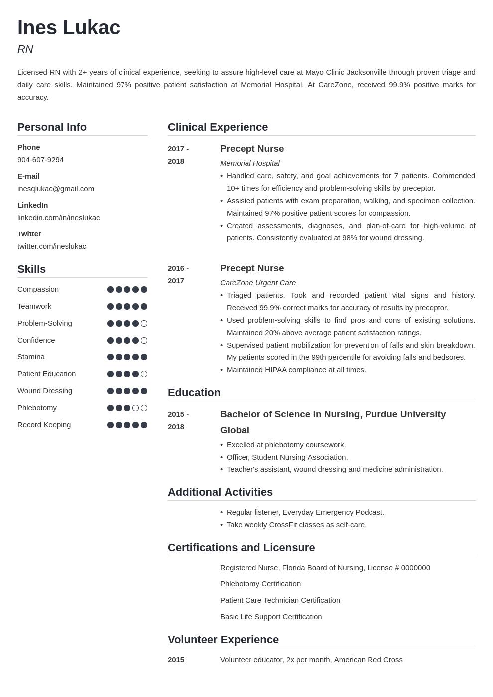 nursing student template simple