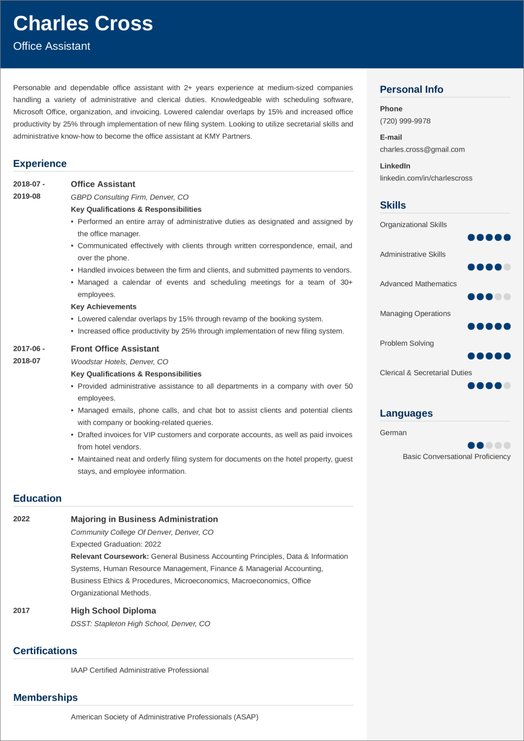 office assistant resume u2014examples and 25  writing tips