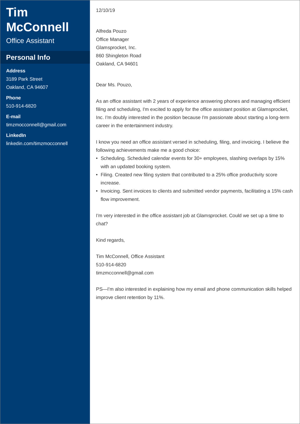 office assistant cover letter templates
