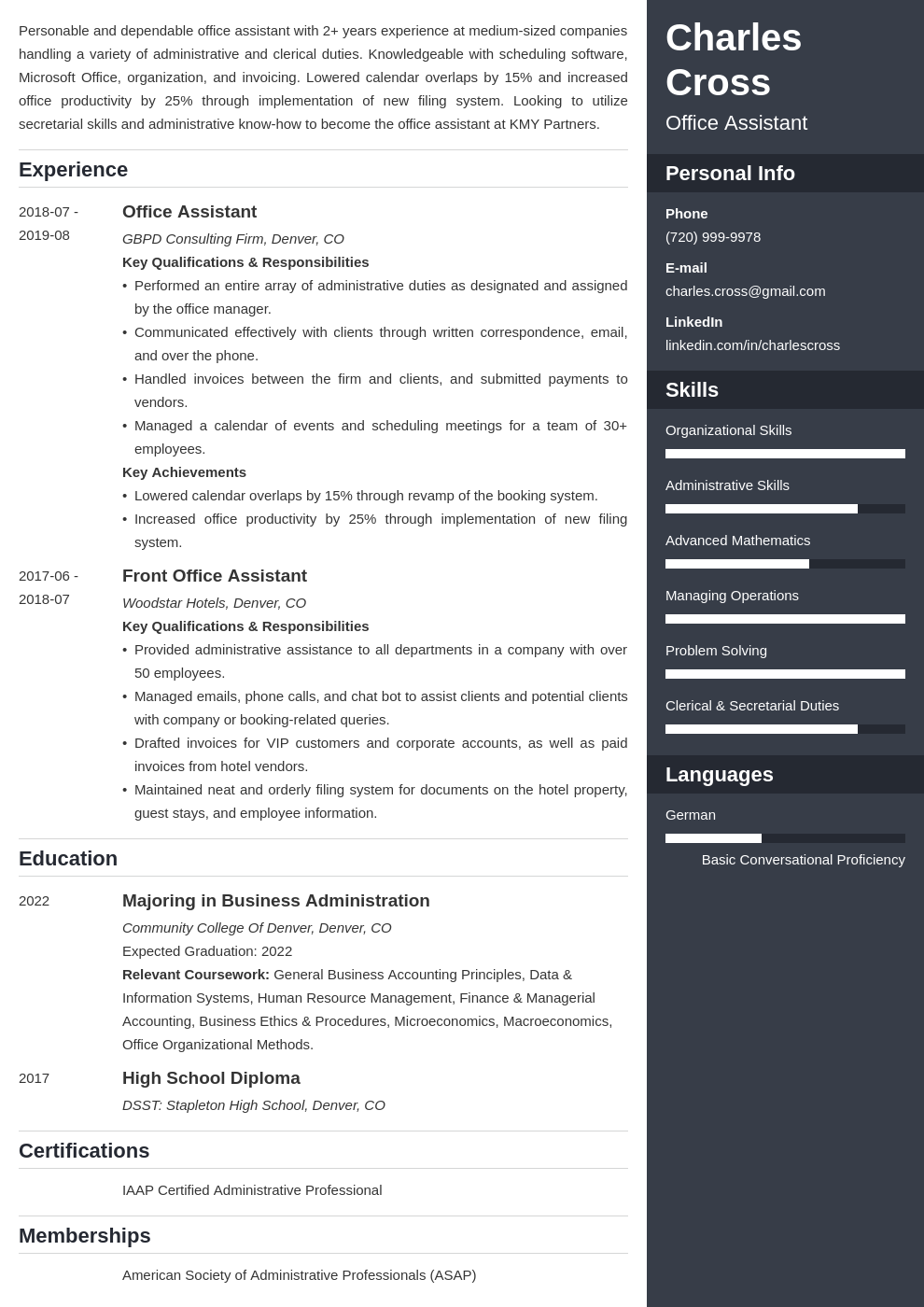 office assistant template enfold