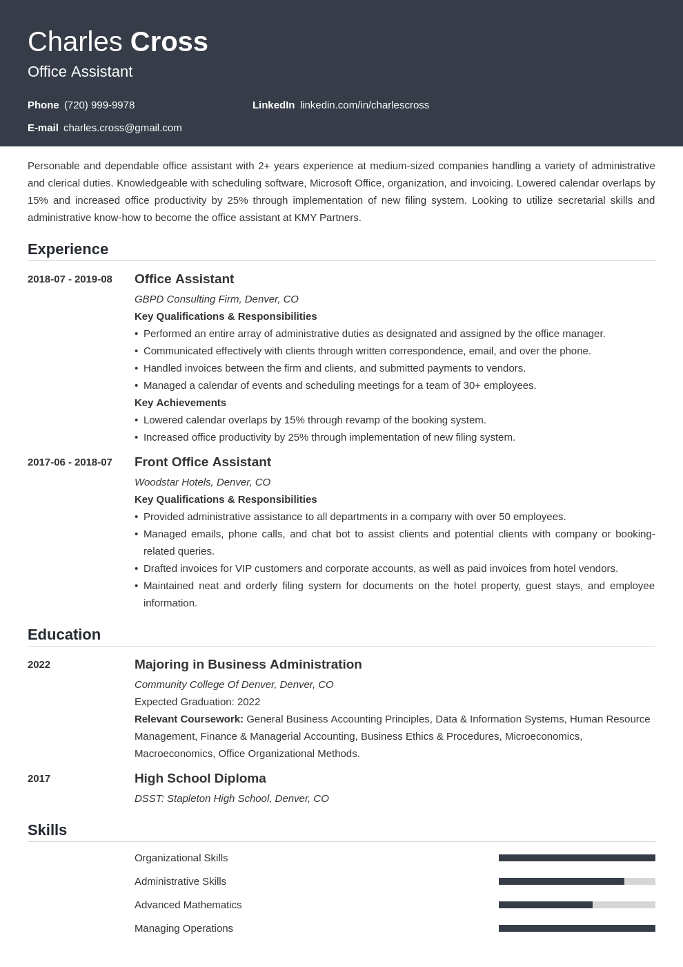 office assistant template influx