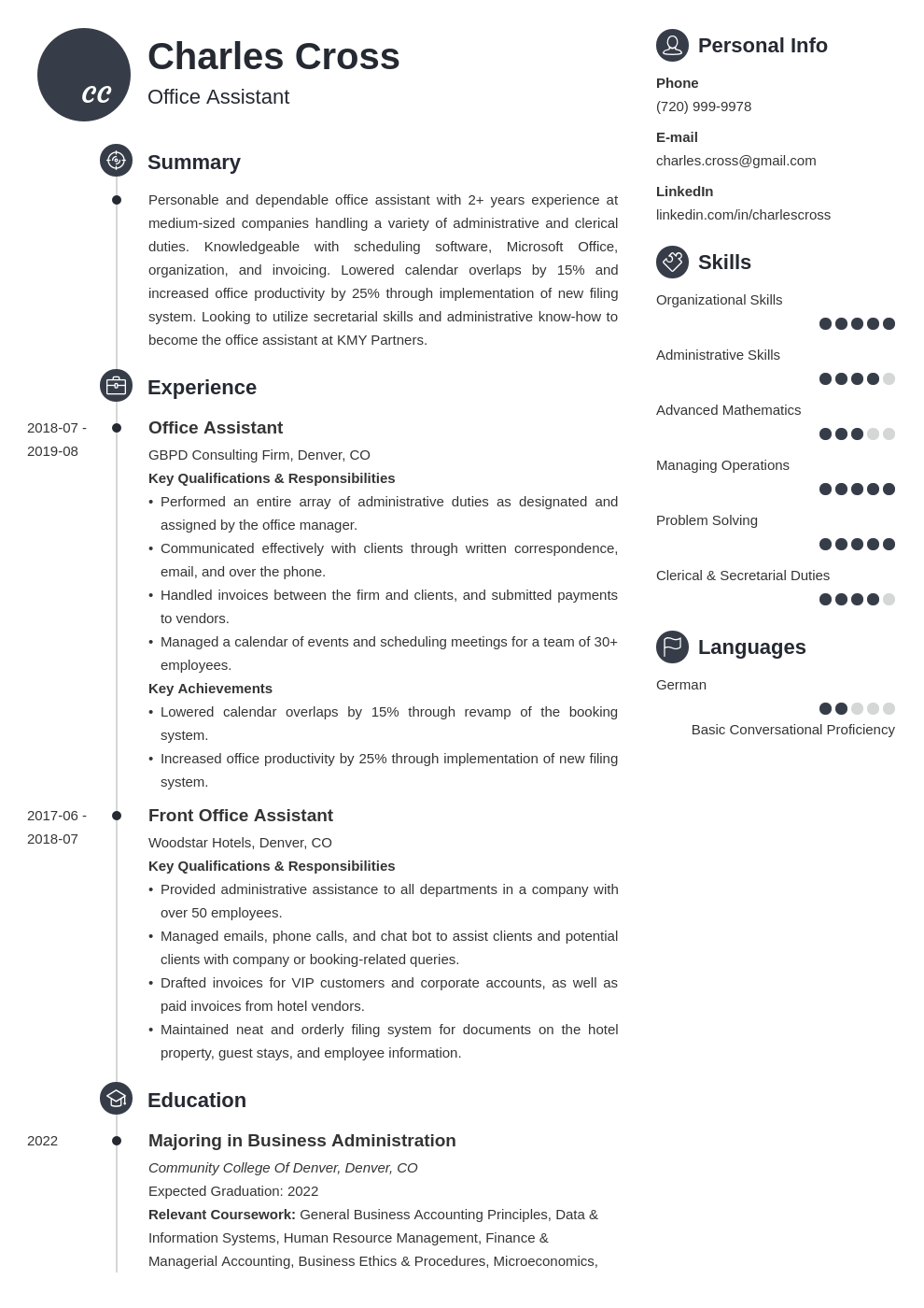 office assistant template primo uk