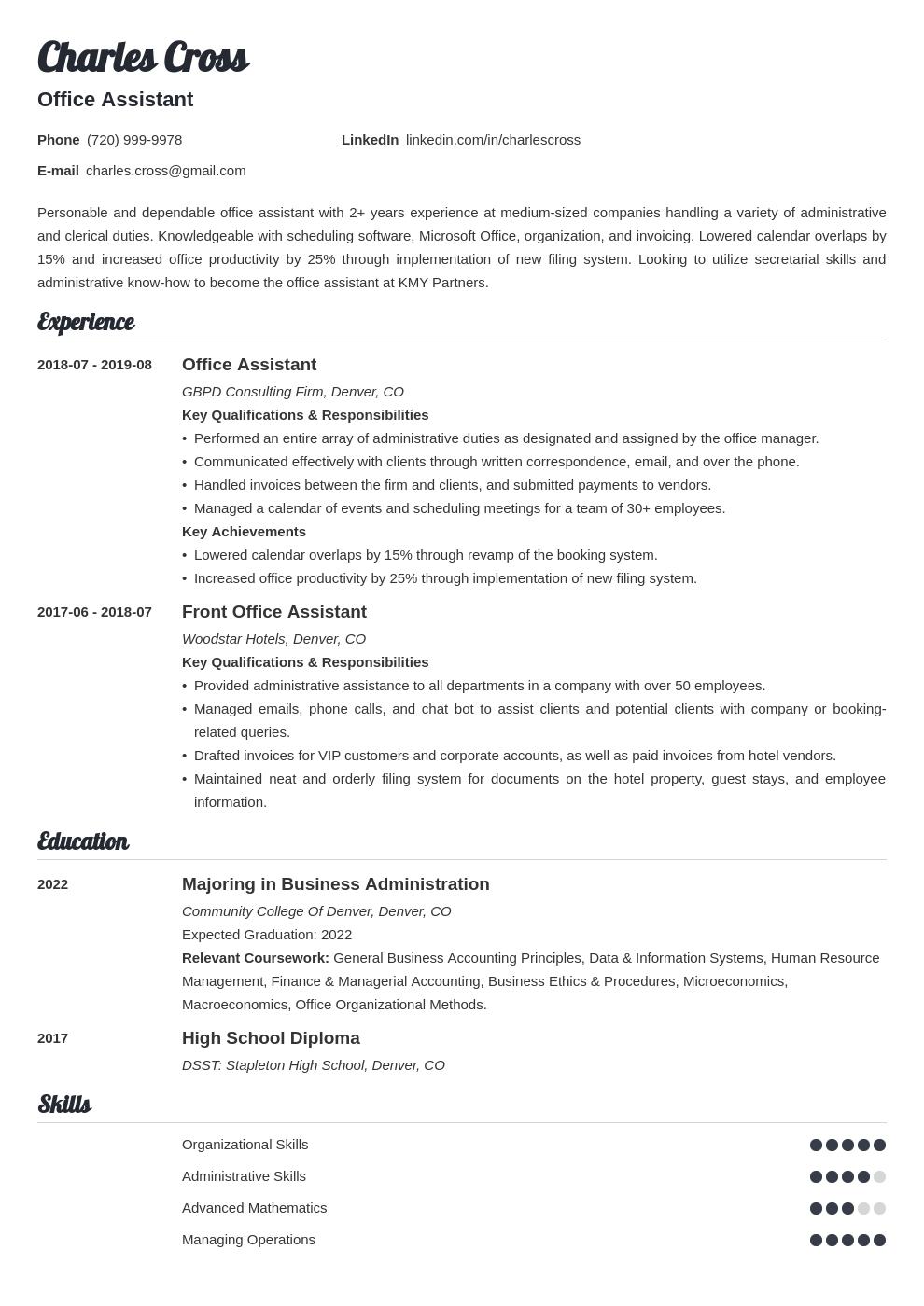 office assistant template valera uk