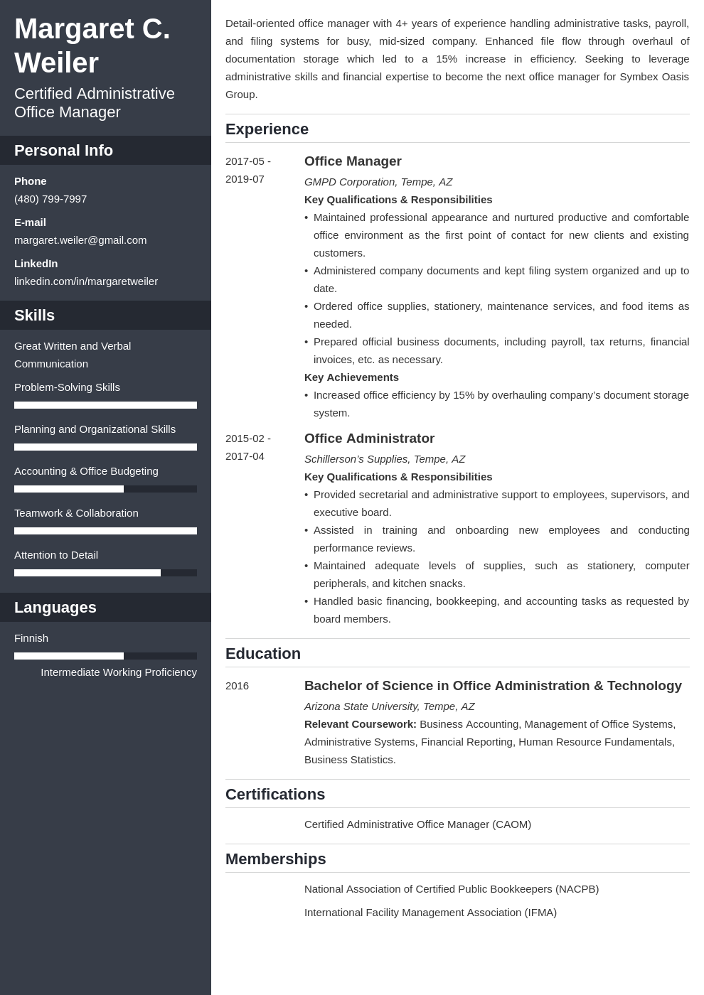 office manager template cascade