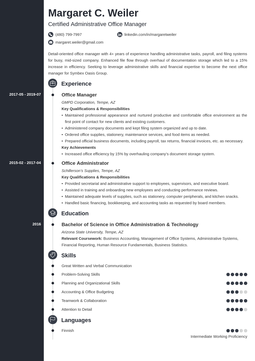 office manager template concept