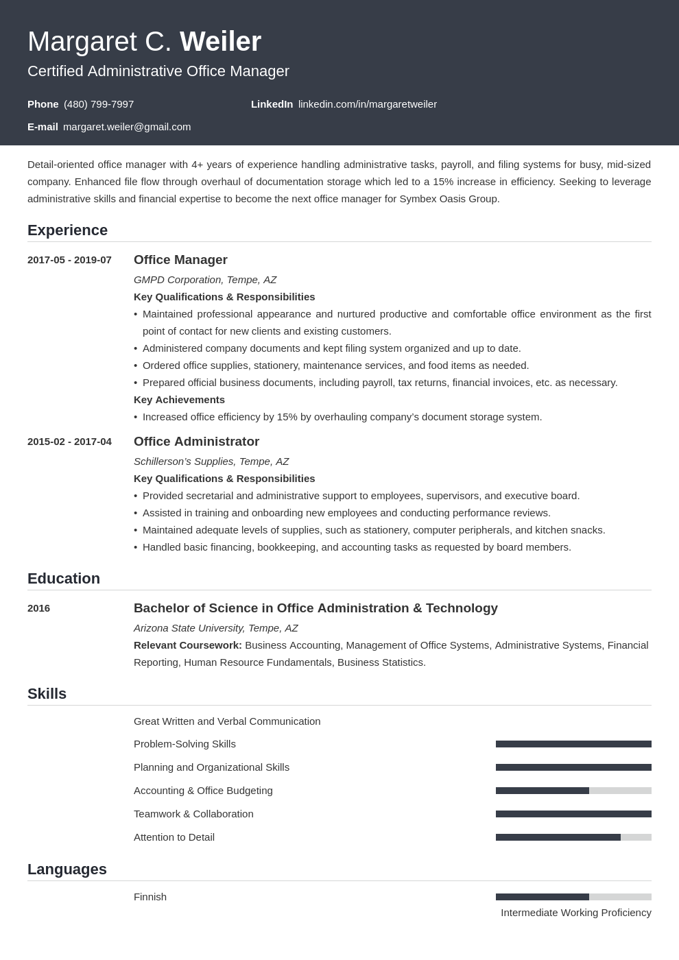 office manager template influx
