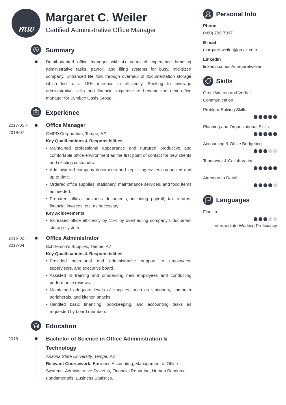 office manager template primo uk