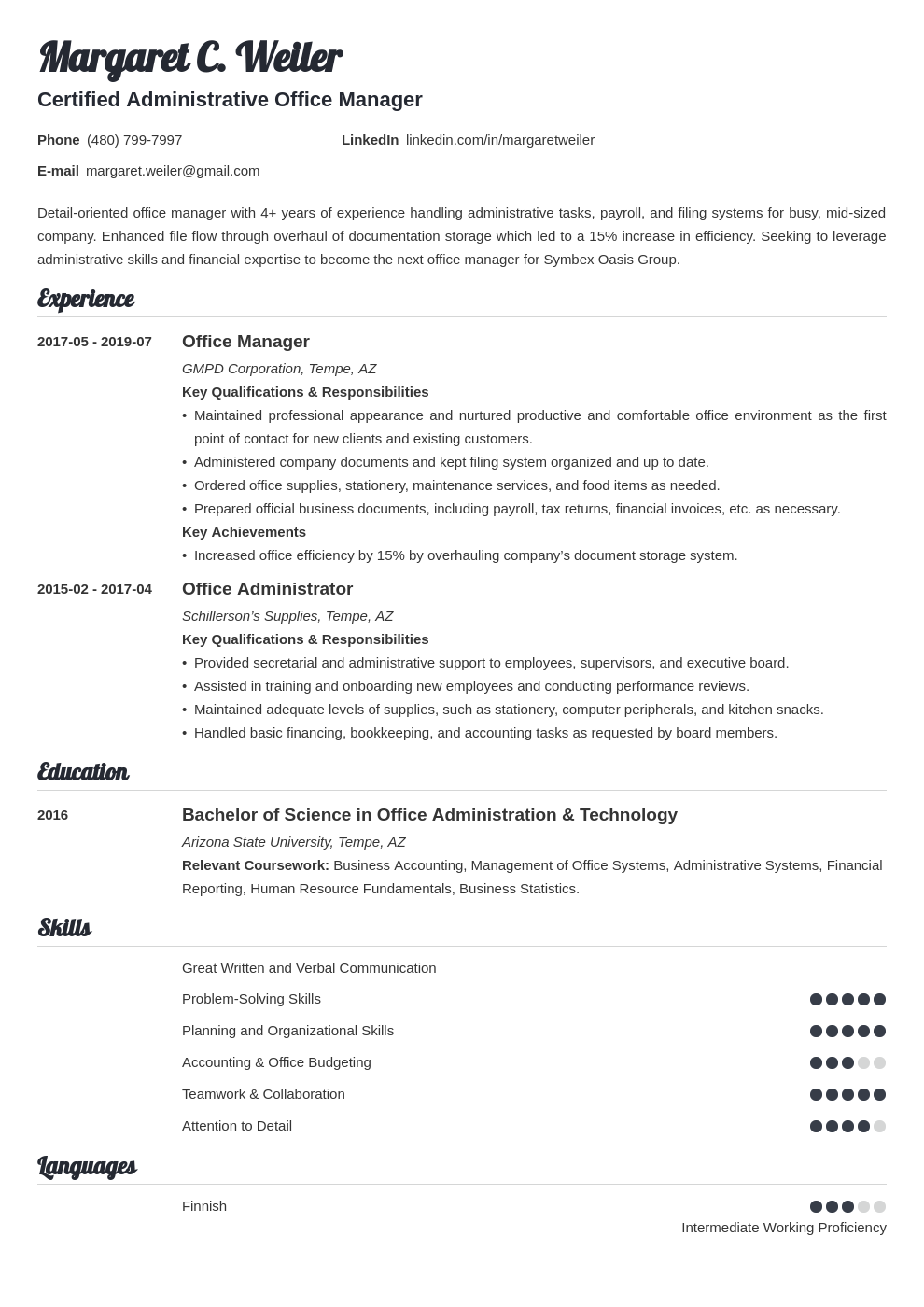 office manager template valera