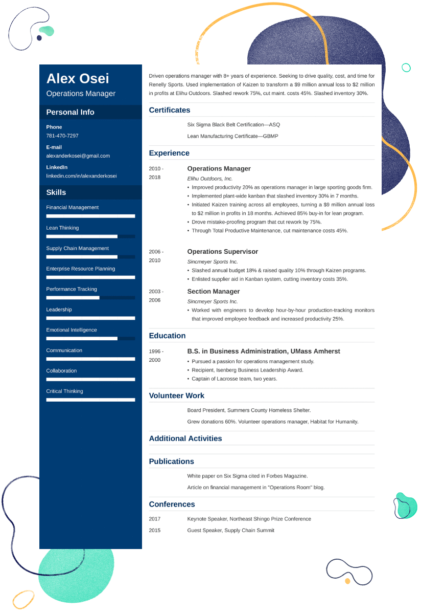 operations manager resume sample u201425  examples and writing tips