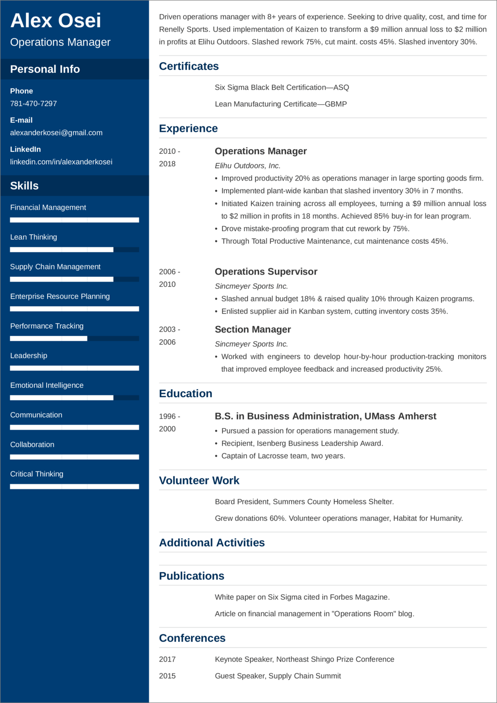 operations manager resume templates