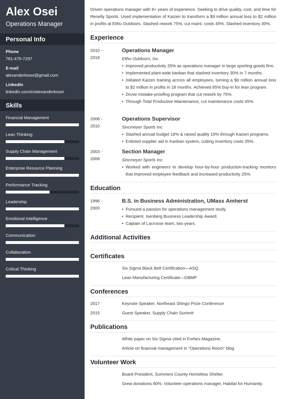 operations manager template cascade uk