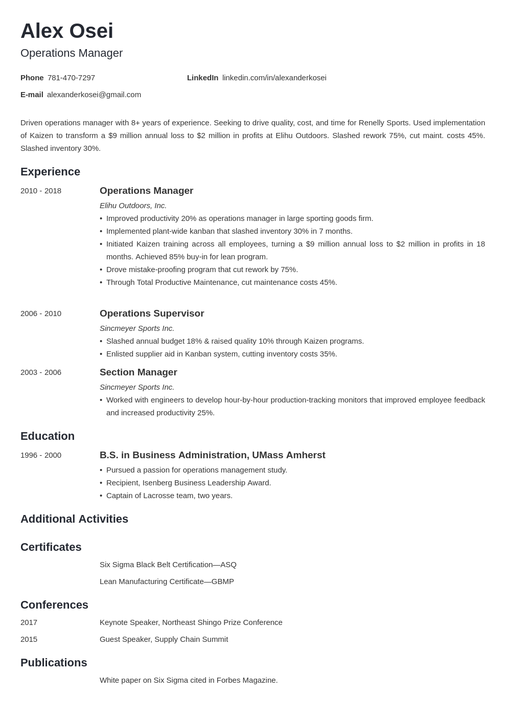 operations manager template minimo uk
