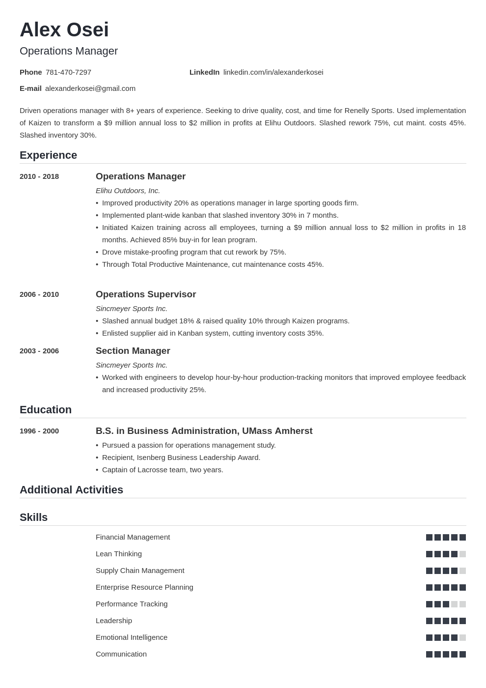operations manager template nanica uk