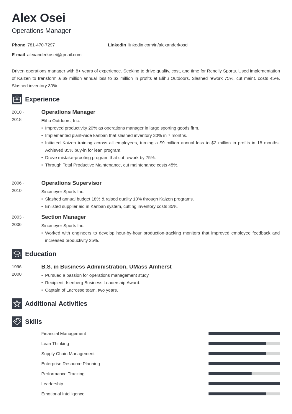 operations manager template newcast