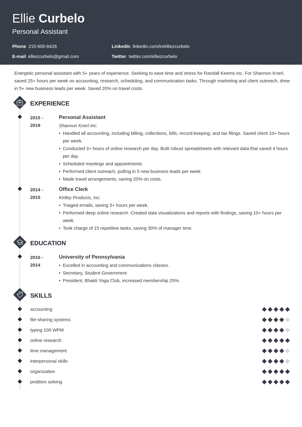 personal assistant template diamond uk