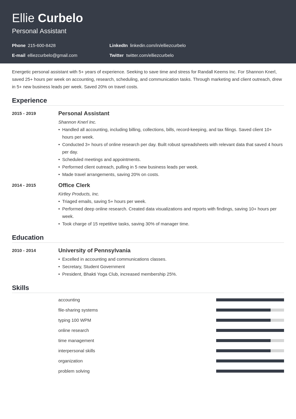personal assistant template influx uk