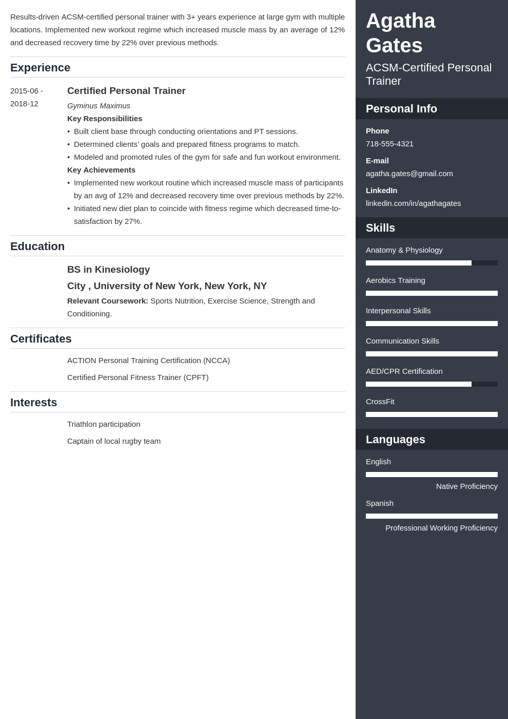 personal trainer template enfold uk