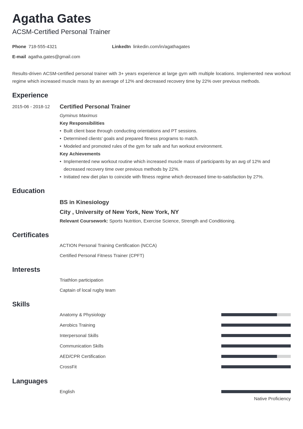personal trainer template minimo