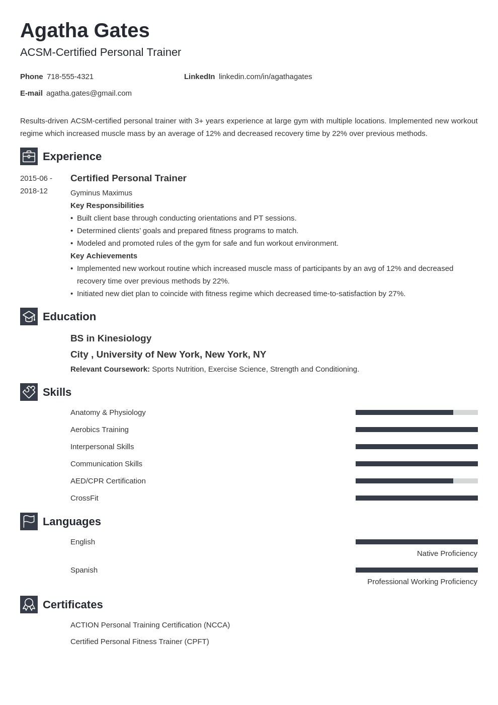 Personal Trainer Resume Sample 25 Examples And Writing Tips