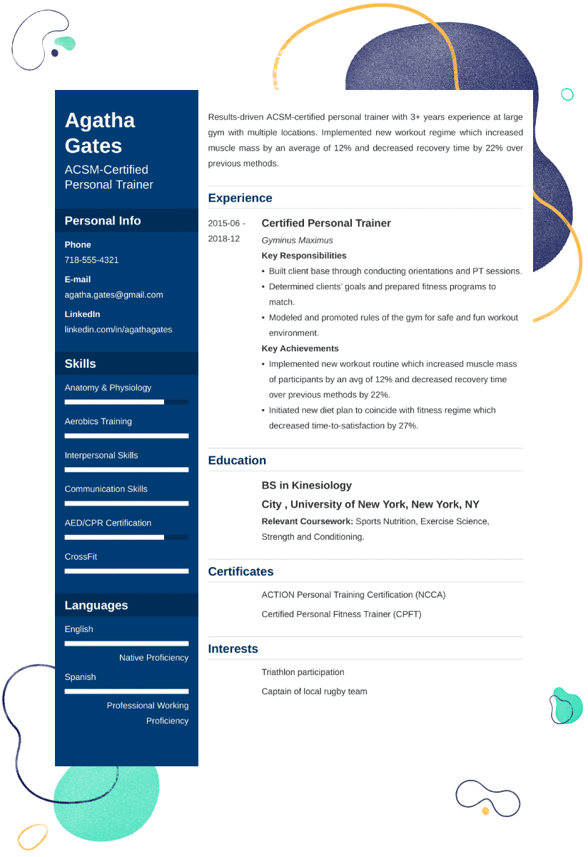 personal training resume example