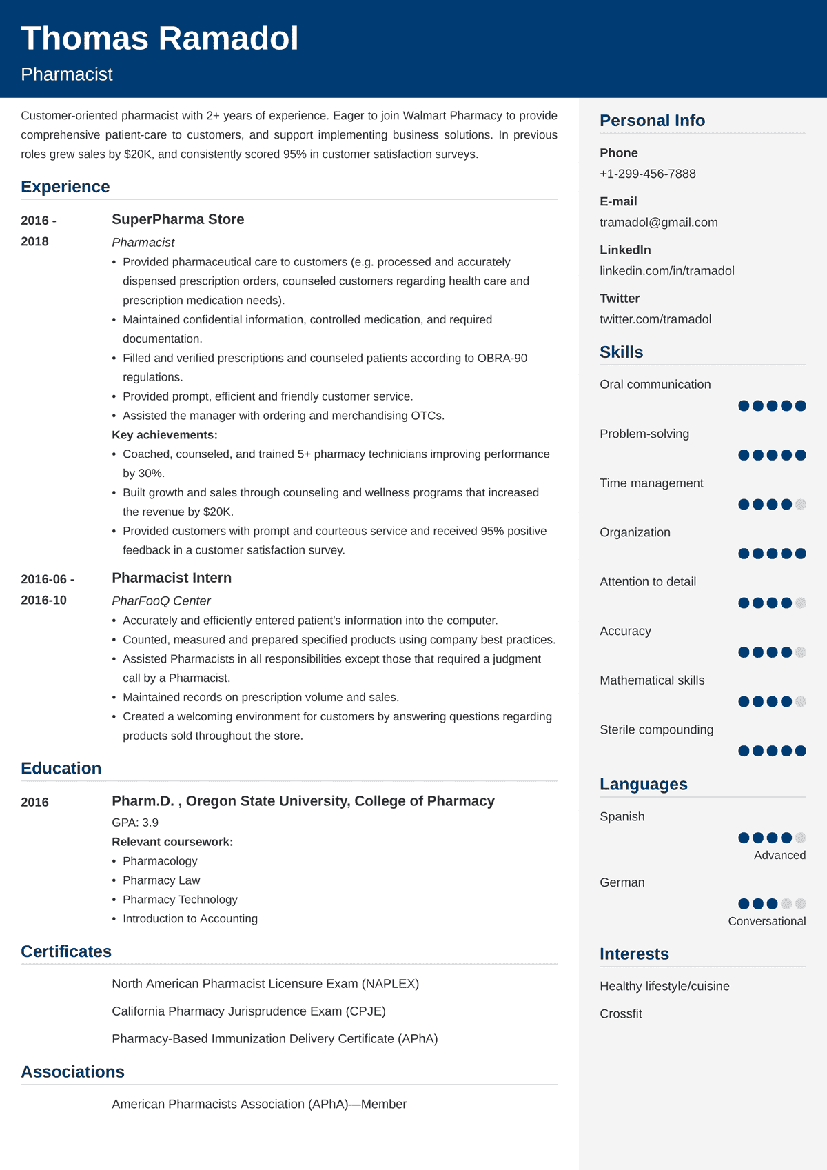 pharmacist resume sample  20  examples and writing tips