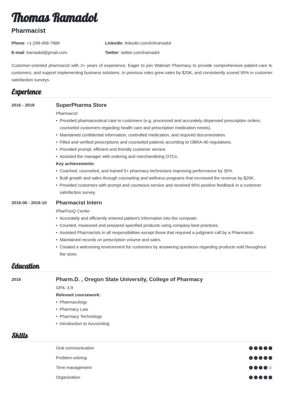 pharmacist template valera uk