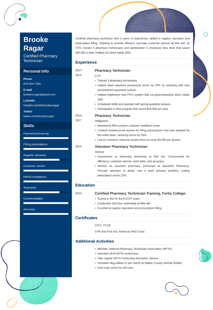 Pharmacy Technician Resume Sample—20+ Examples and Writing Tips