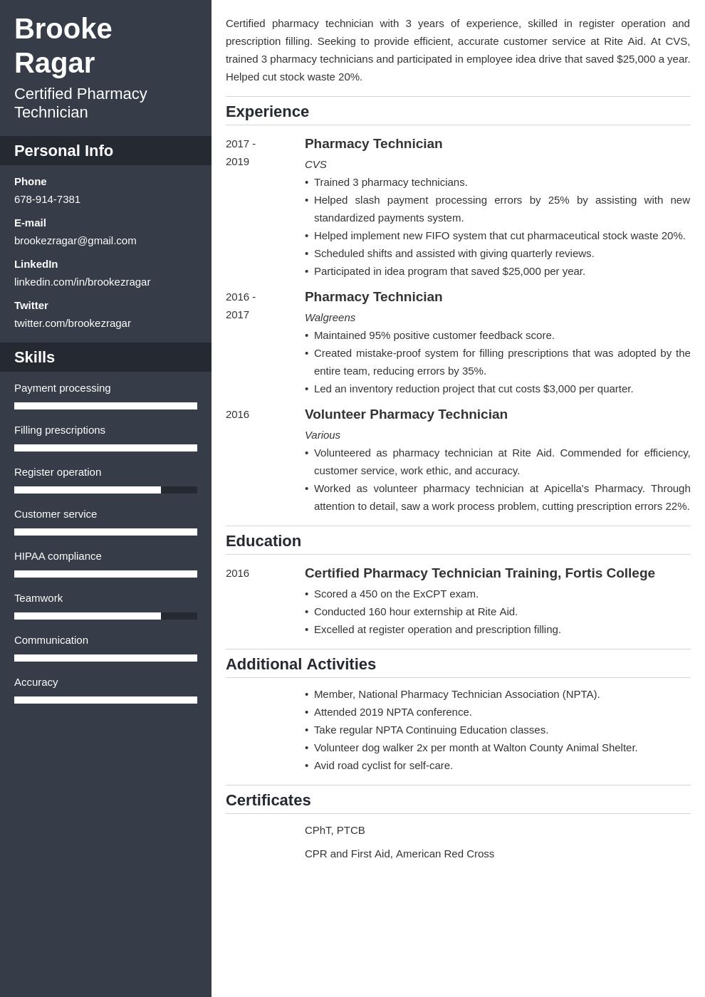 pharmacy technician template cascade uk