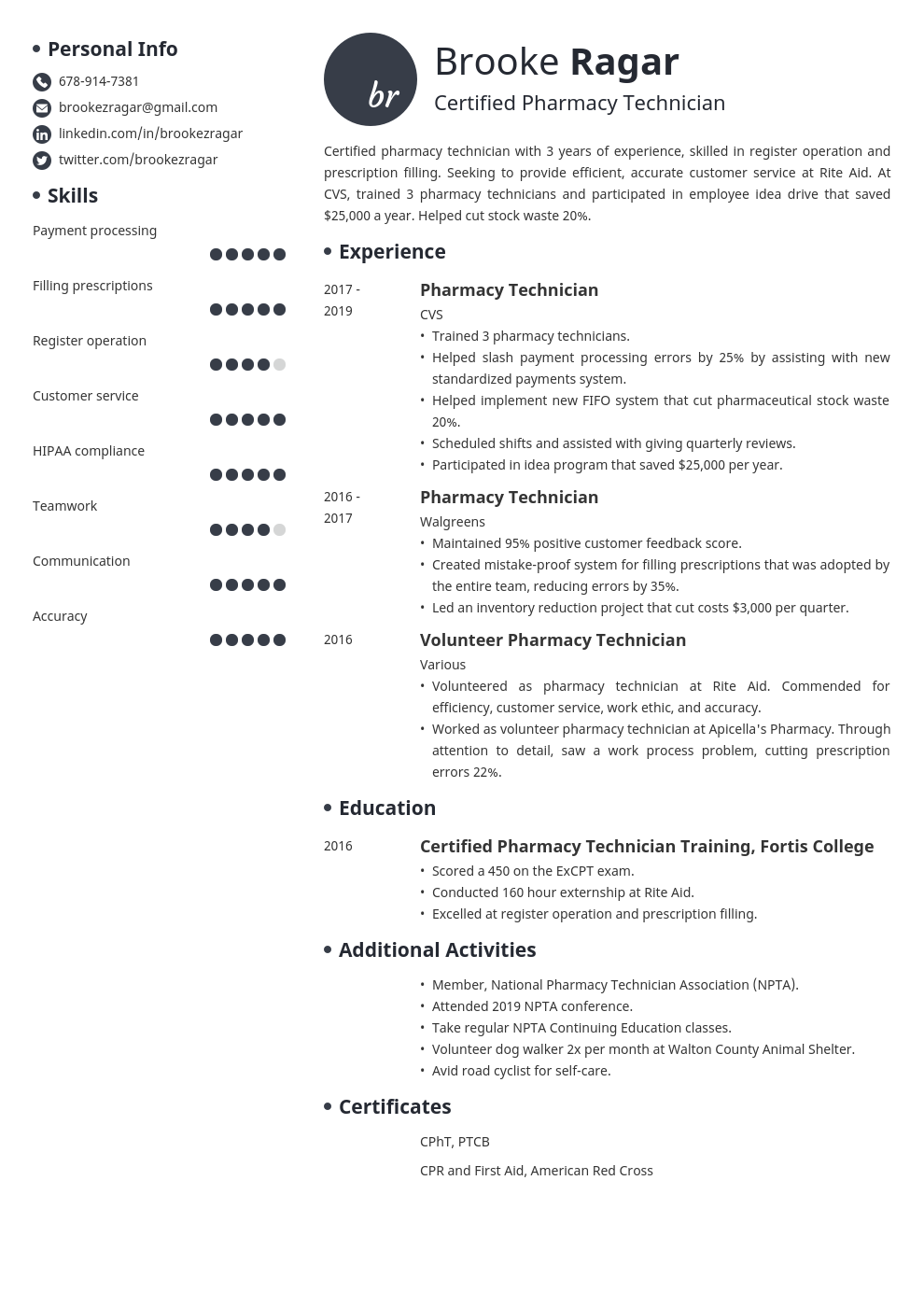 Pharmacy Technician Resume Sample 20 Examples And Writing Tips
