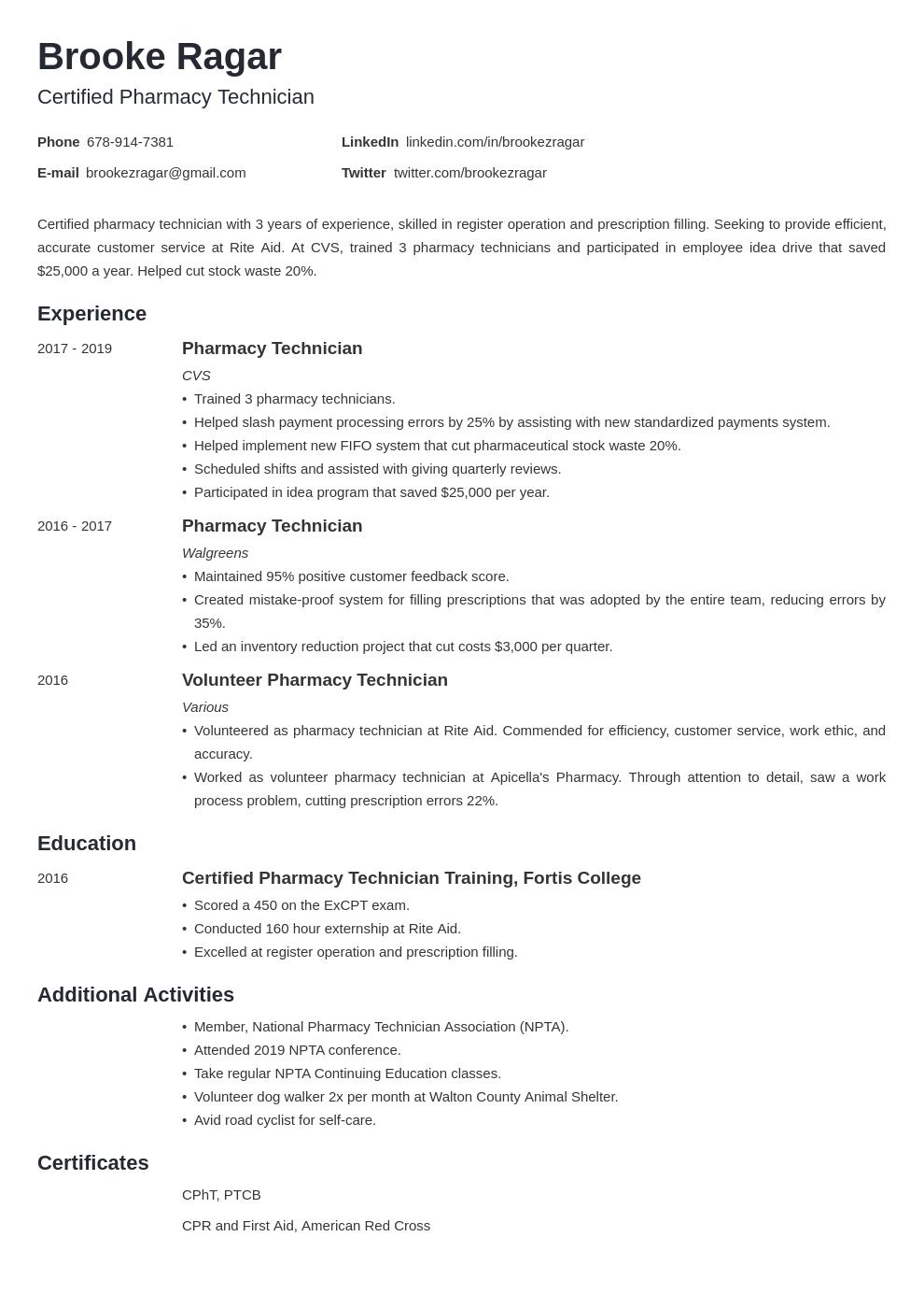 pharmacy technician template minimo uk