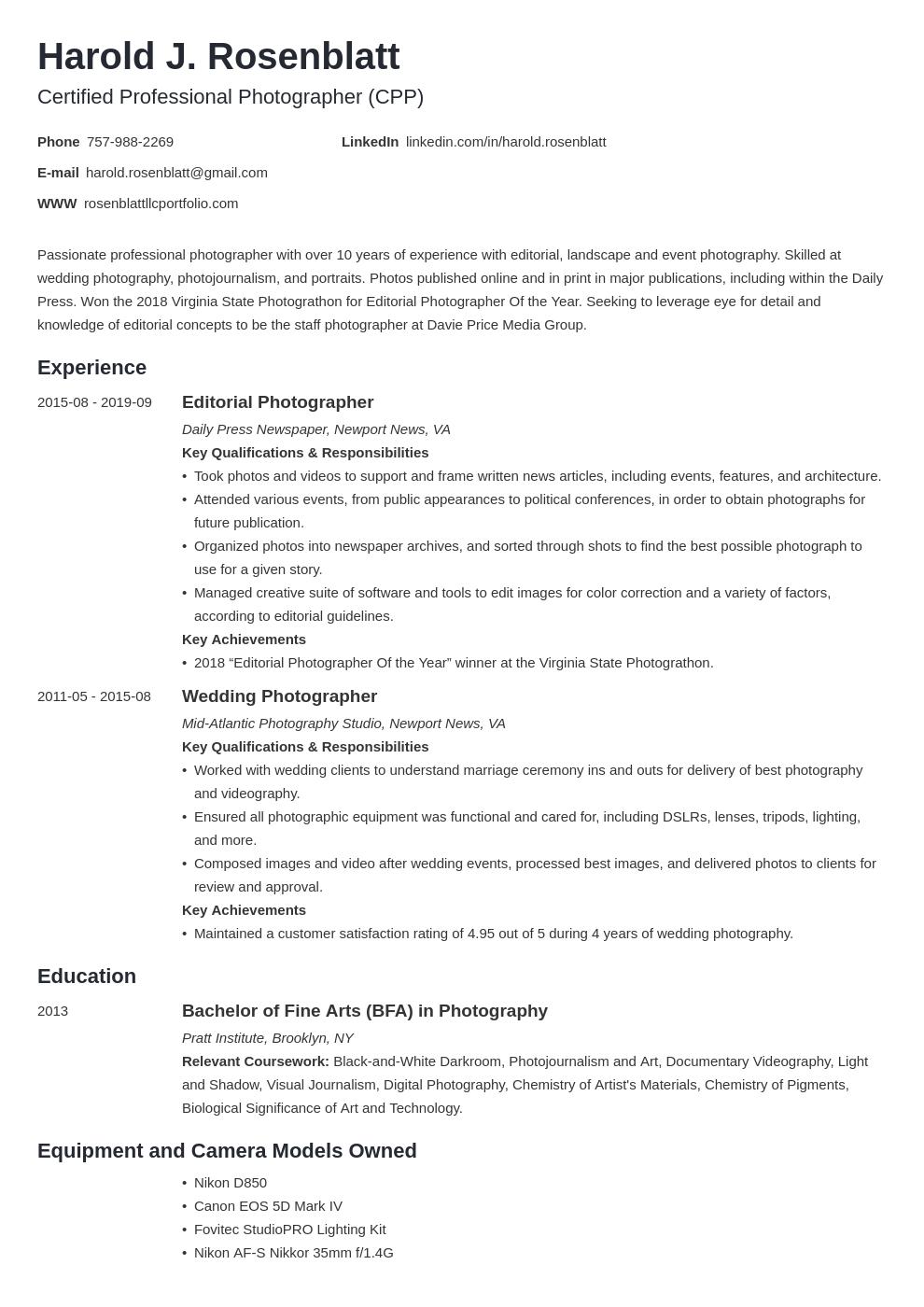 photographer template minimo