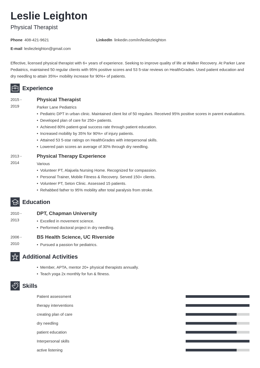 physical therapy template newcast uk