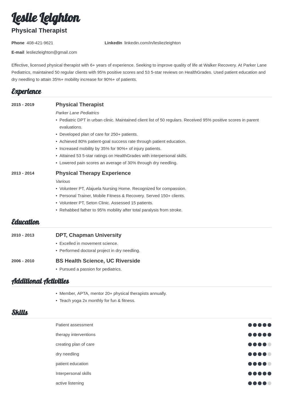 physical therapy template valera uk