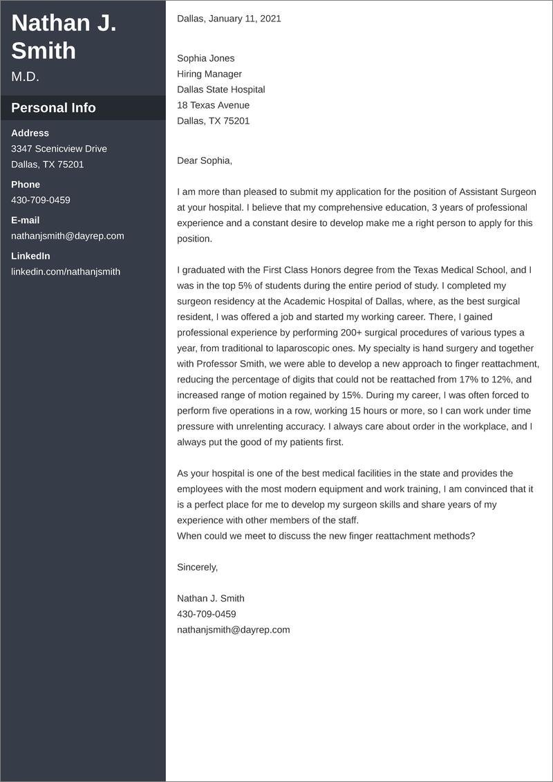 Physician Cover Letter Examples Templates To Fill
