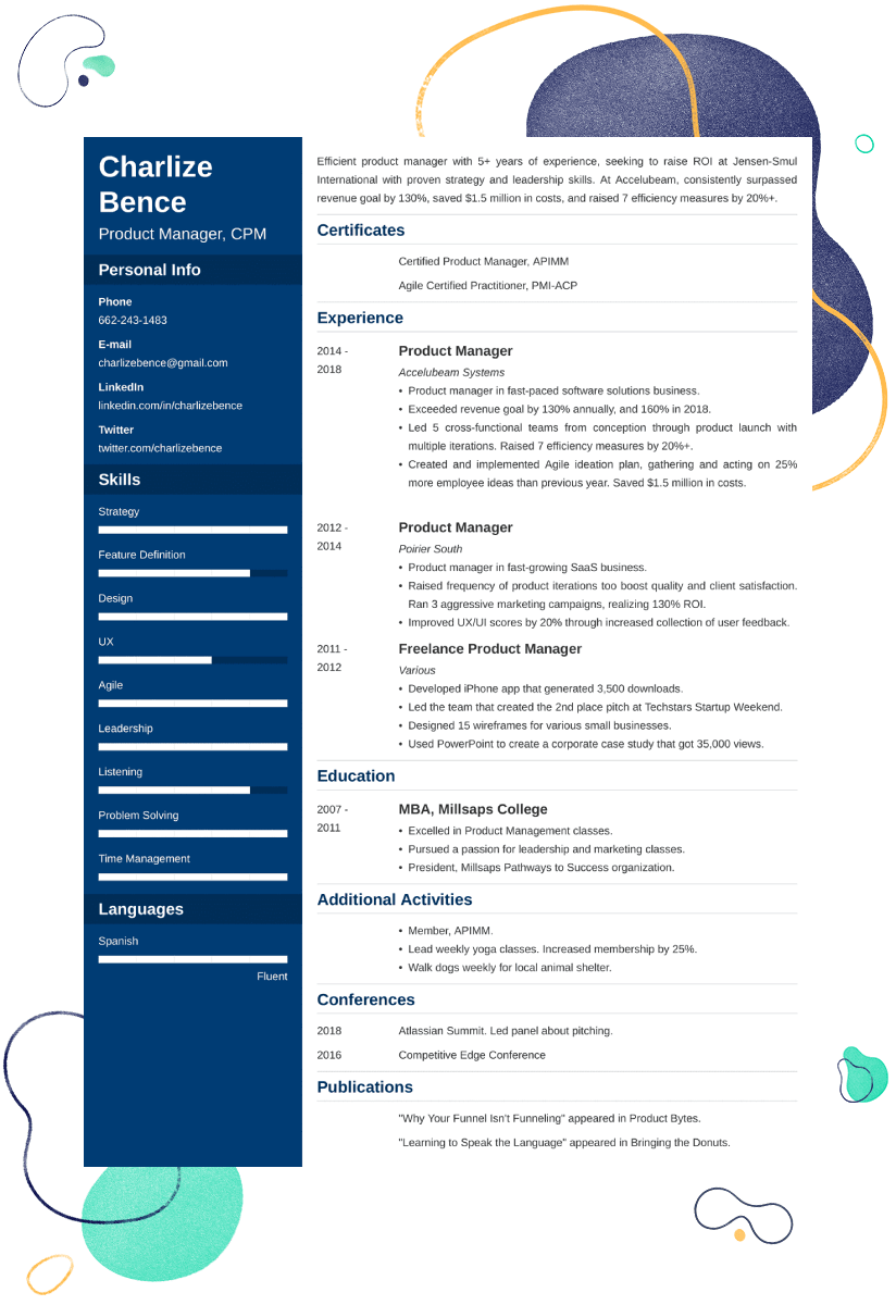product manager resume sample u2014examples and 25  writing tips