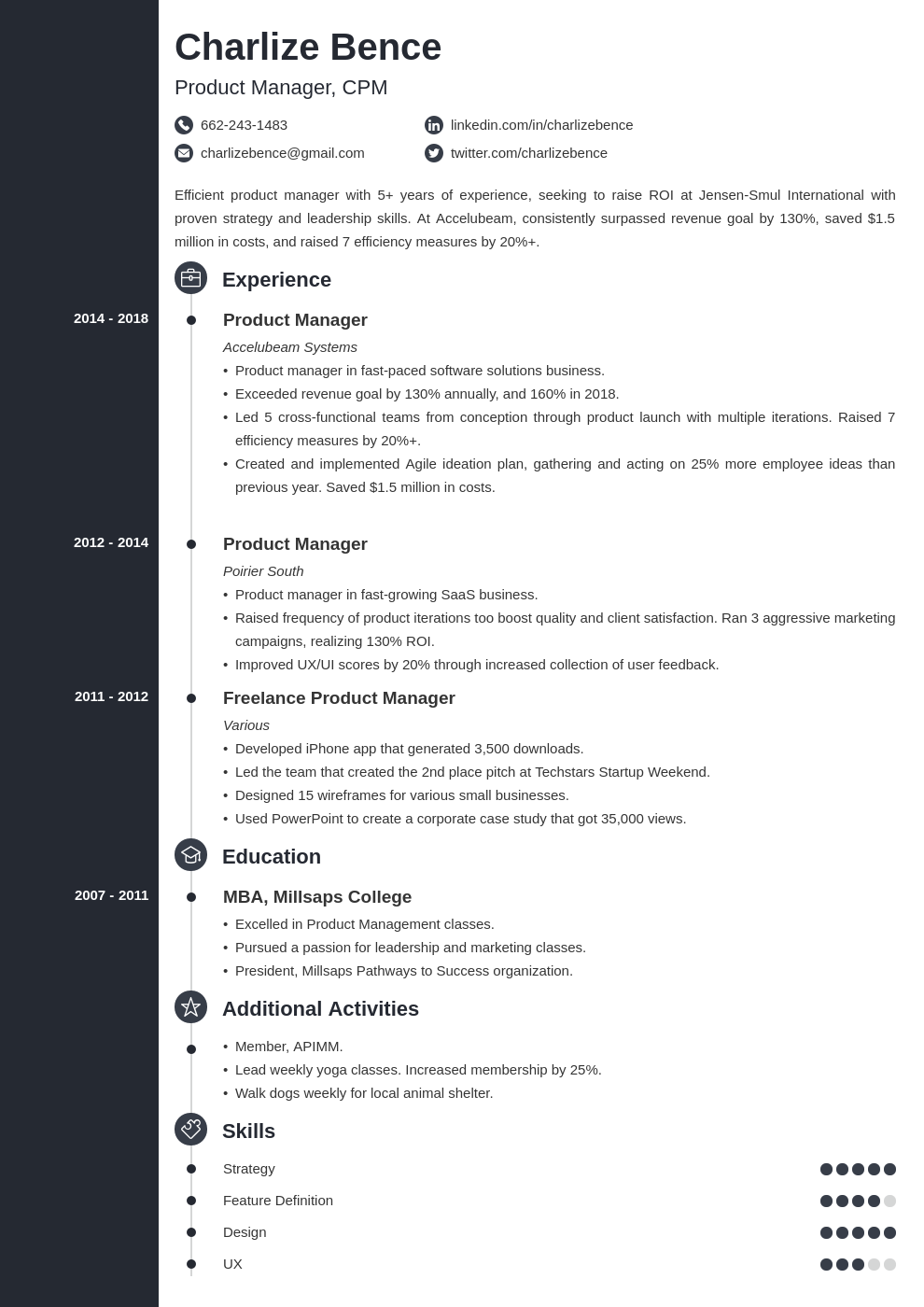 product manager template concept uk