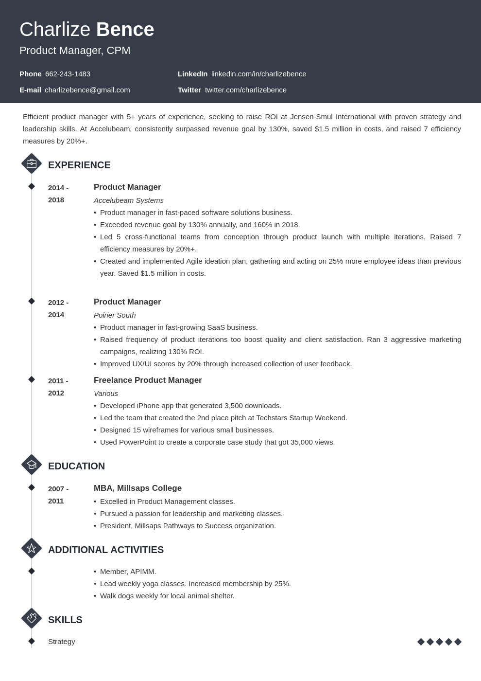 product manager template diamond uk