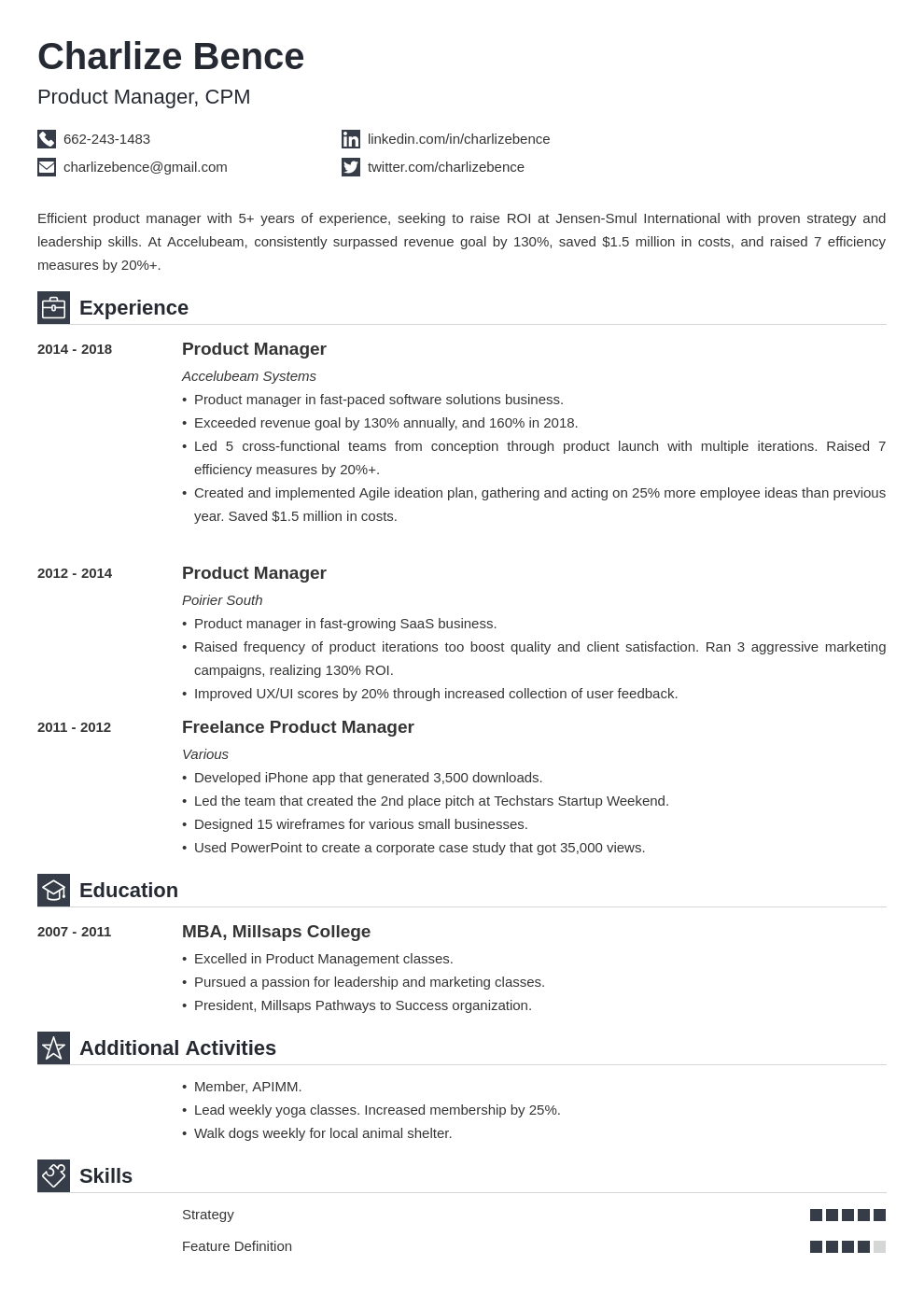 product manager template iconic uk