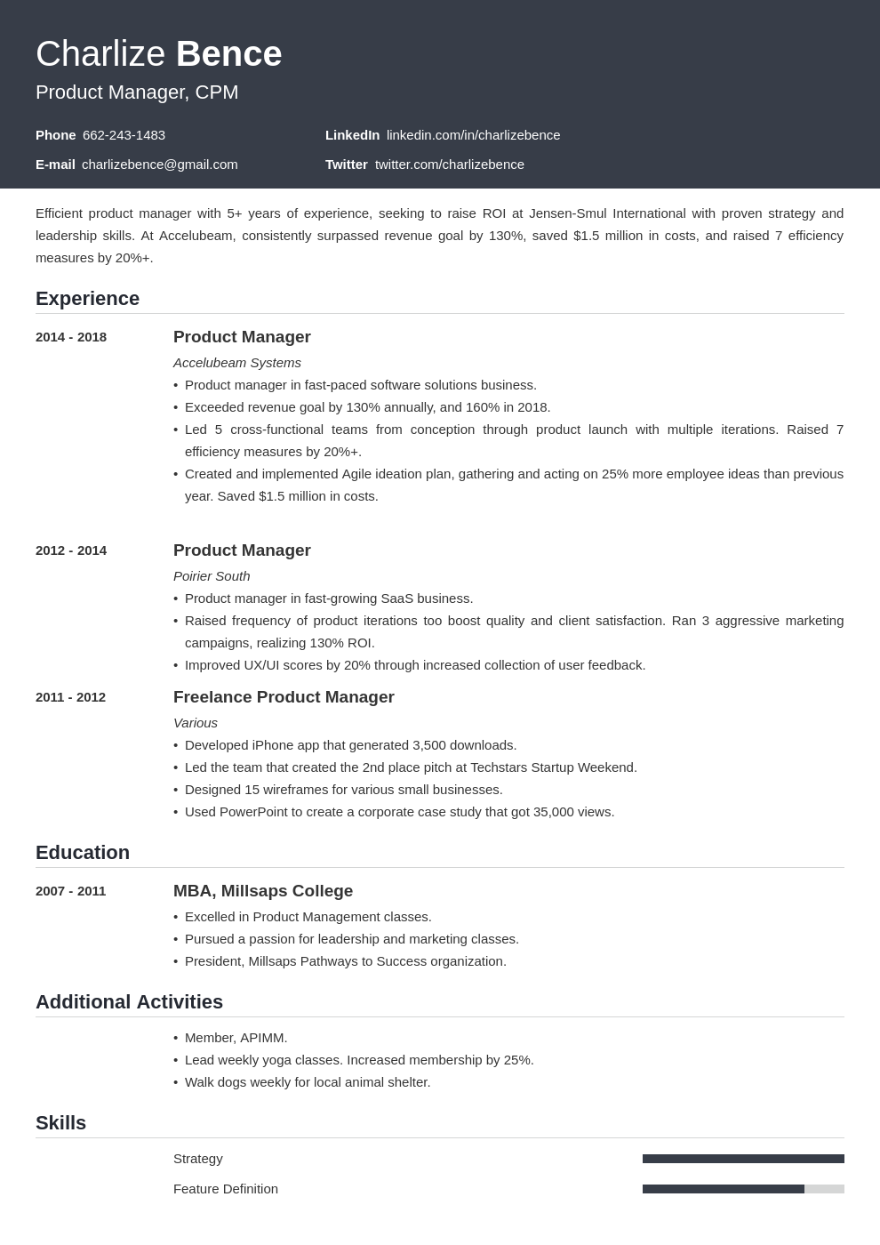 product manager template influx uk
