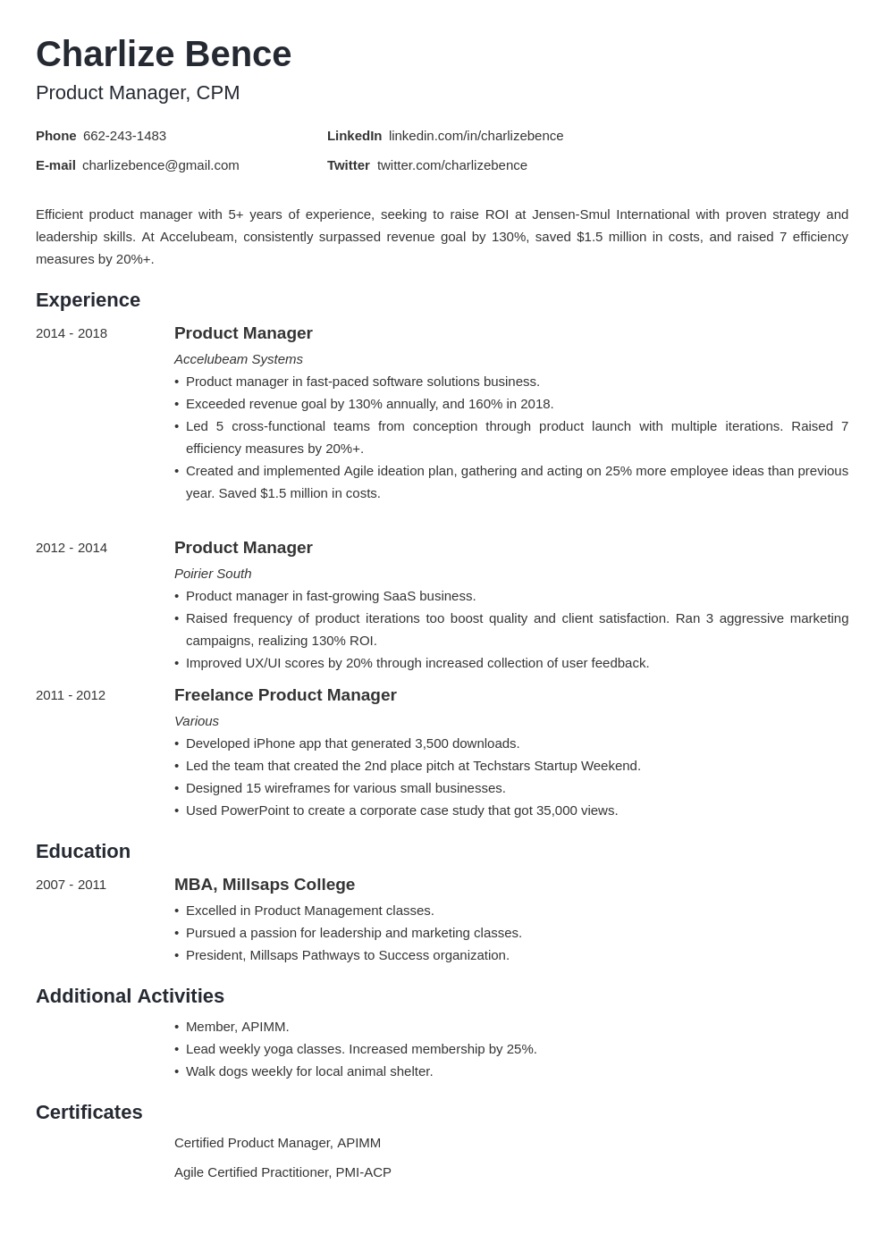 product manager template minimo uk