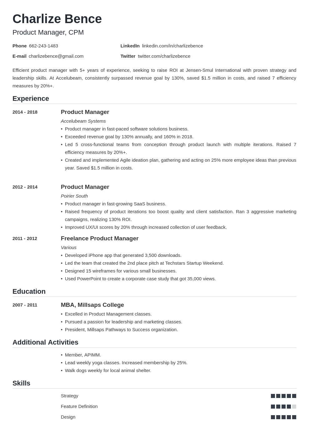 product manager template nanica uk