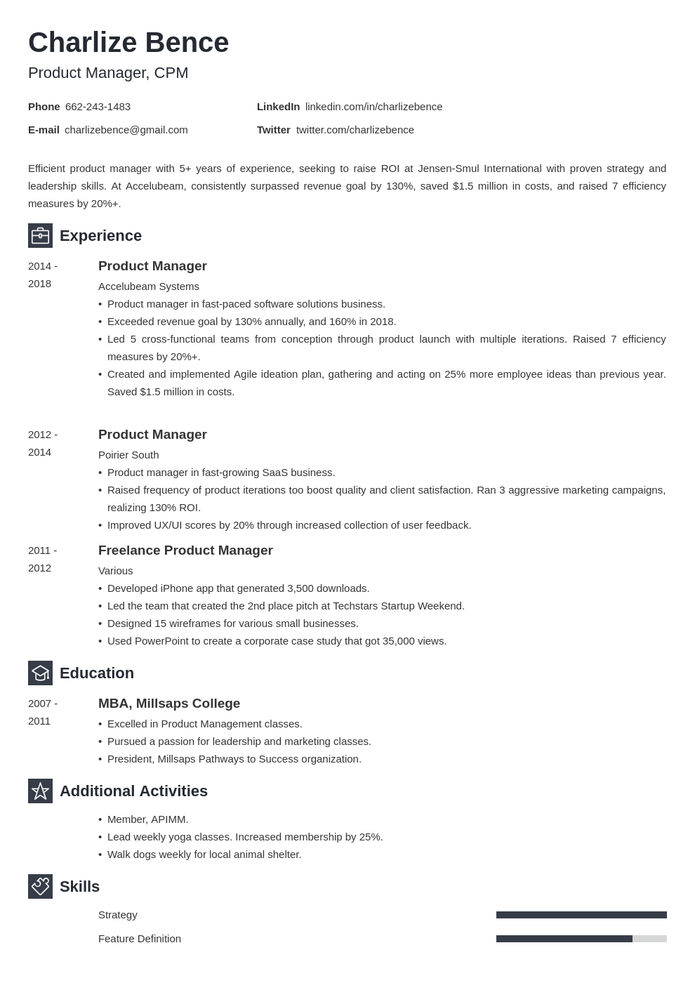 product manager template newcast uk