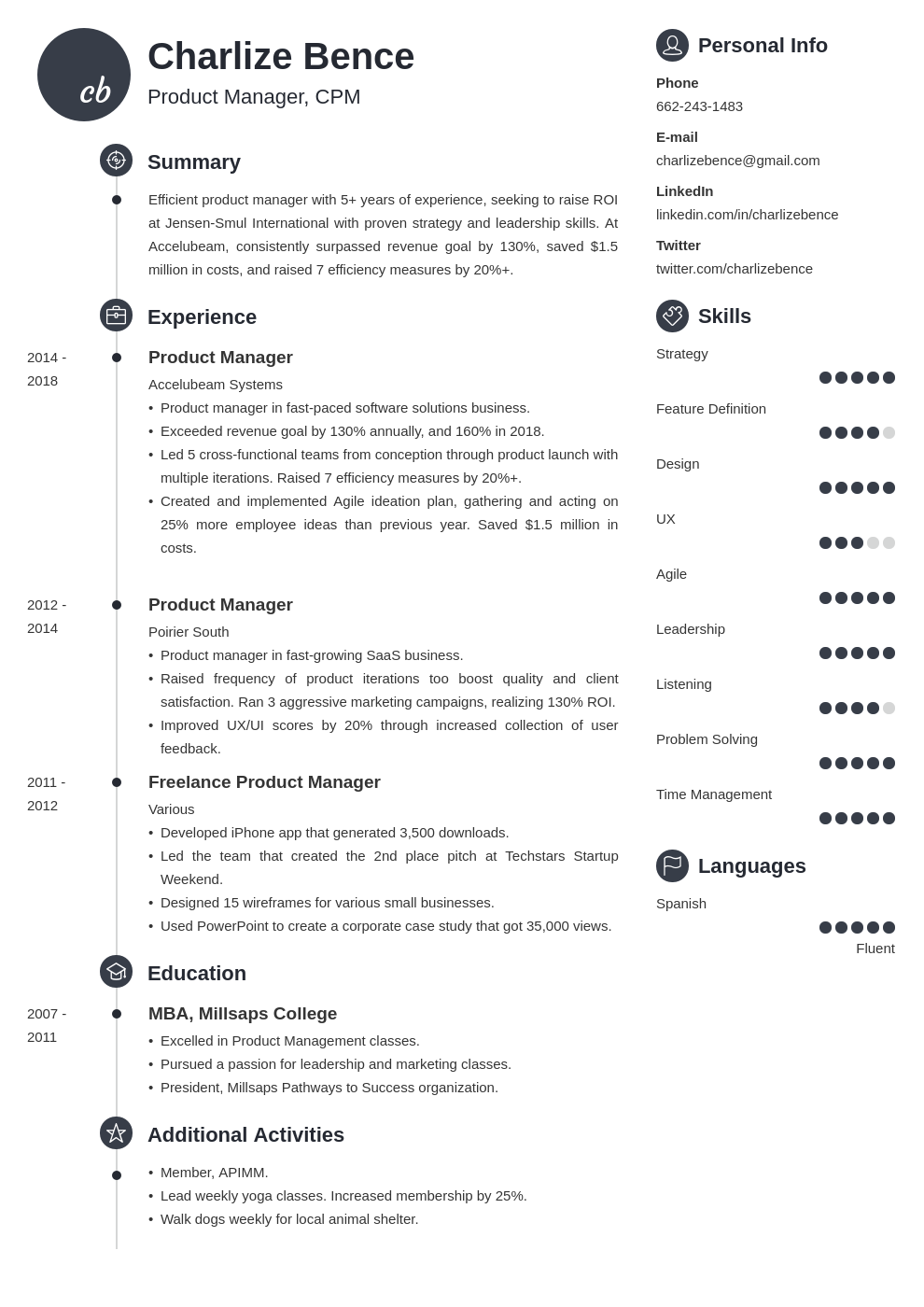 product manager template primo uk