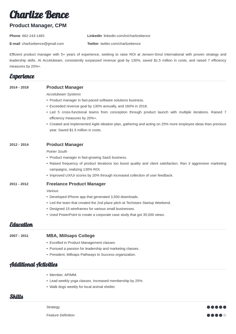 product manager template valera uk