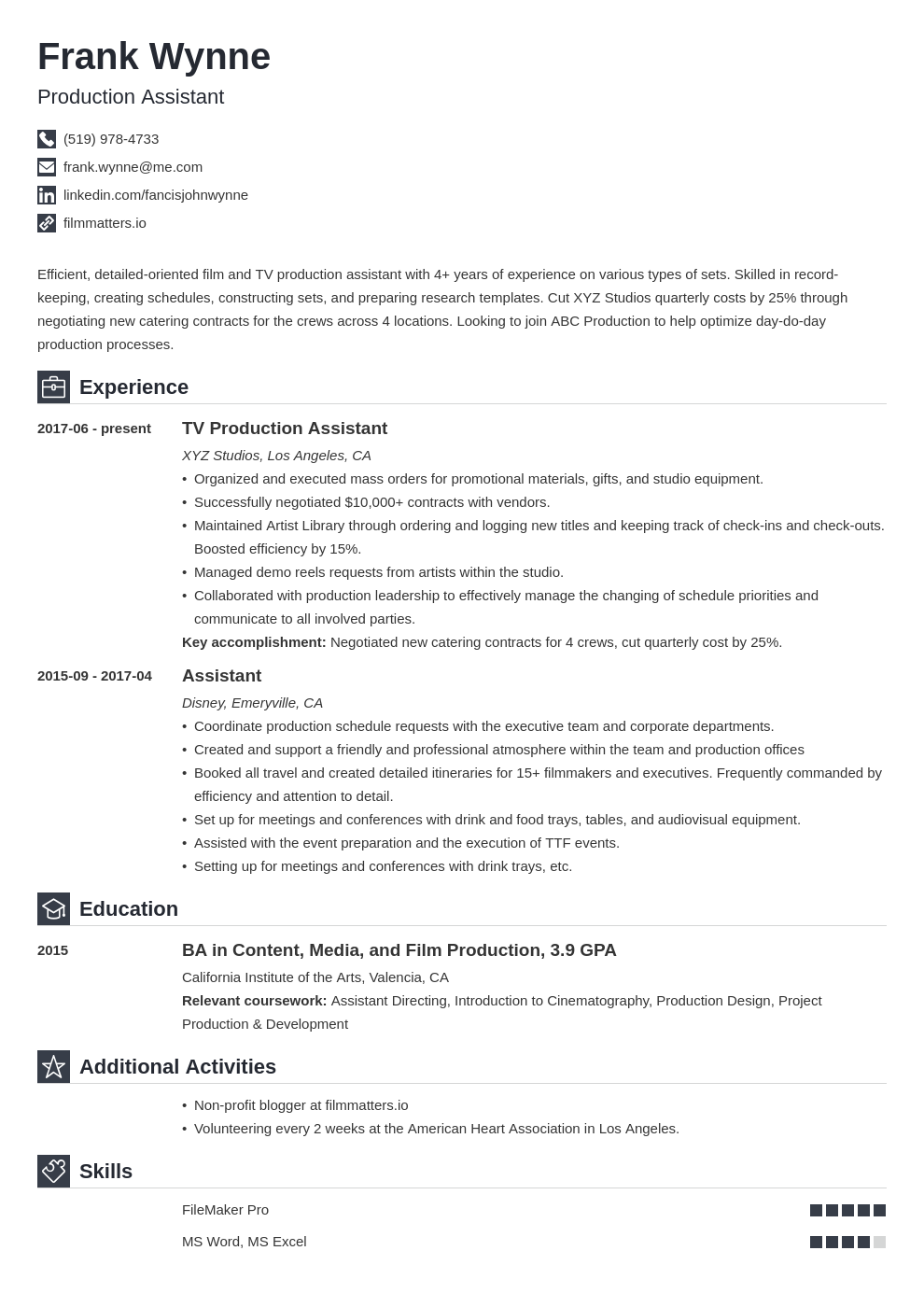 production assistant template iconic uk