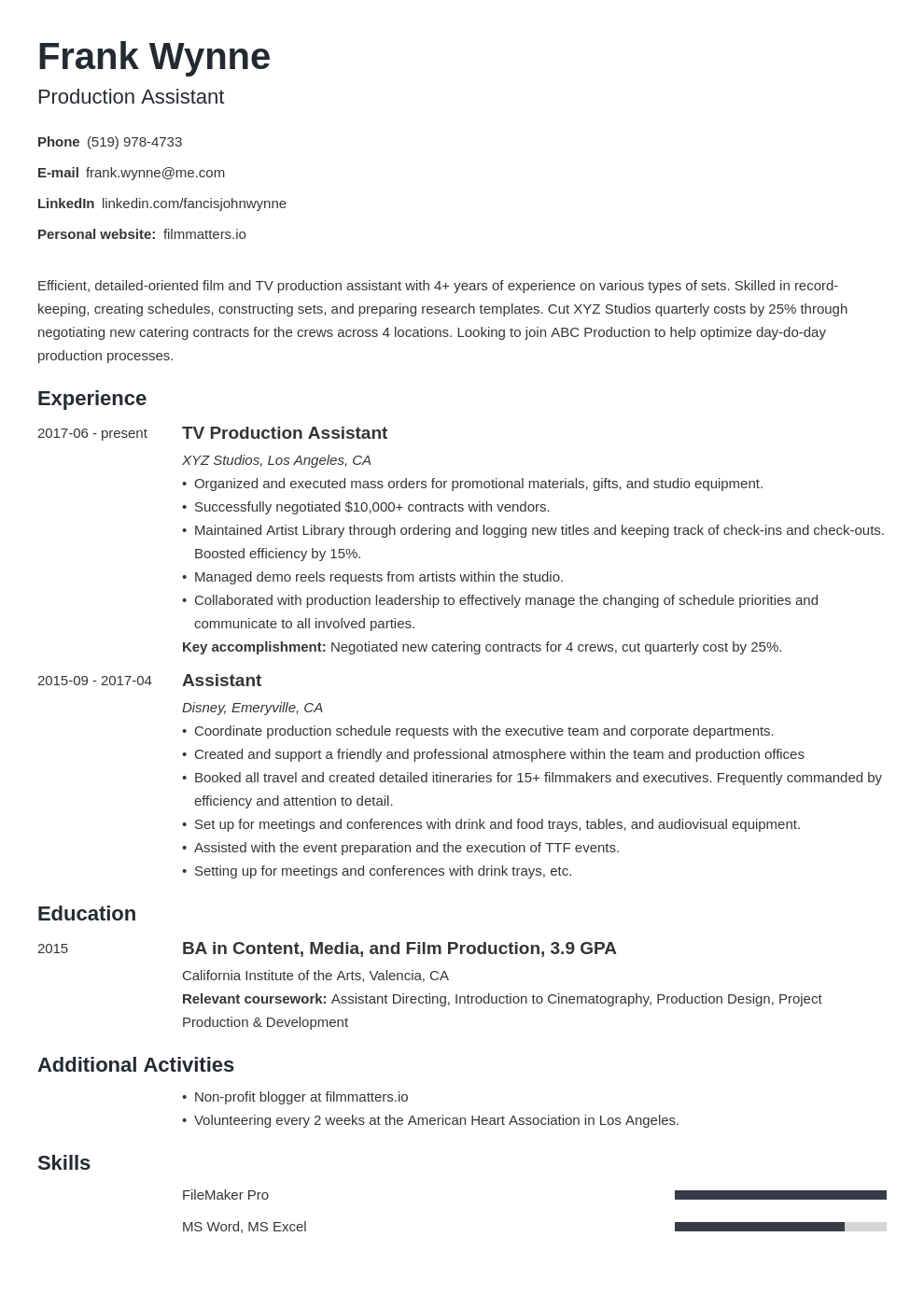 production assistant template minimo