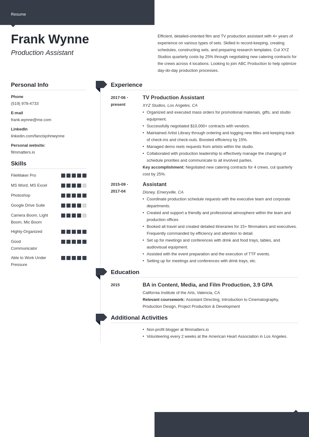 production assistant template modern uk